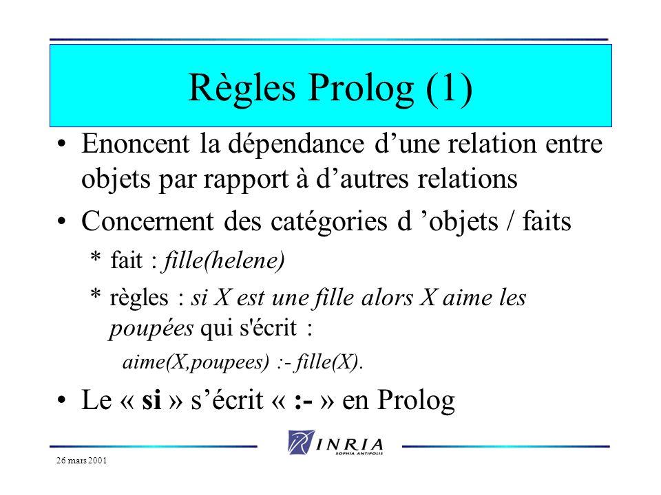 26 mars 2001 Prédicats et formules (2) Nombre d arguments du prédicat = arité *unaire propriété de l argument *Garcon(jerome) *arité zéro significatio