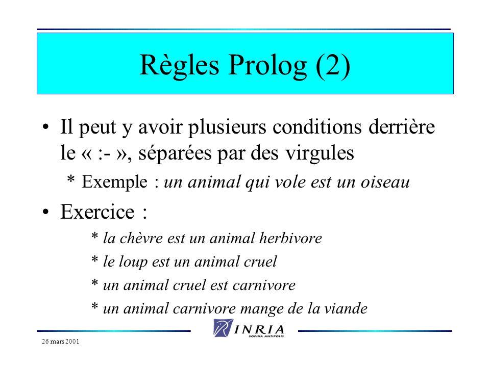 26 mars 2001 Règles Prolog (1) Enoncent la dépendance dune relation entre objets par rapport à dautres relations Concernent des catégories d objets /