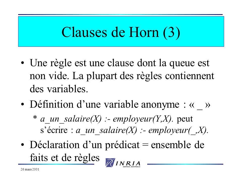 26 mars 2001 Clauses de Horn (2) F est la tête de la clause F1, F2,…, Fn est appelée la queue de la clause Un fait est une clause dont la queue est vi