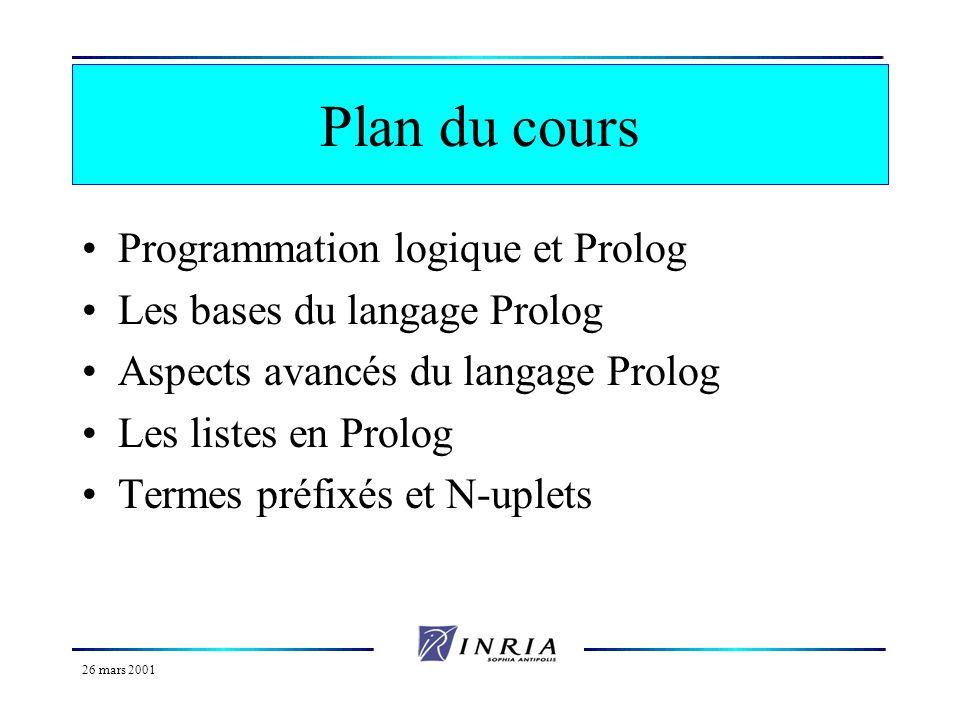 26 mars 2001 Organisation du cours Transparents et informations diverses sur : http://www.inria.fr/oasis/Marjorie.Russo/ Mail : Marjorie.Russo@sophia.