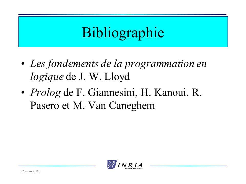 26 mars 2001 Plan du cours Programmation logique et Prolog Les bases du langage Prolog Aspects avancés du langage Prolog Les listes en Prolog Termes p