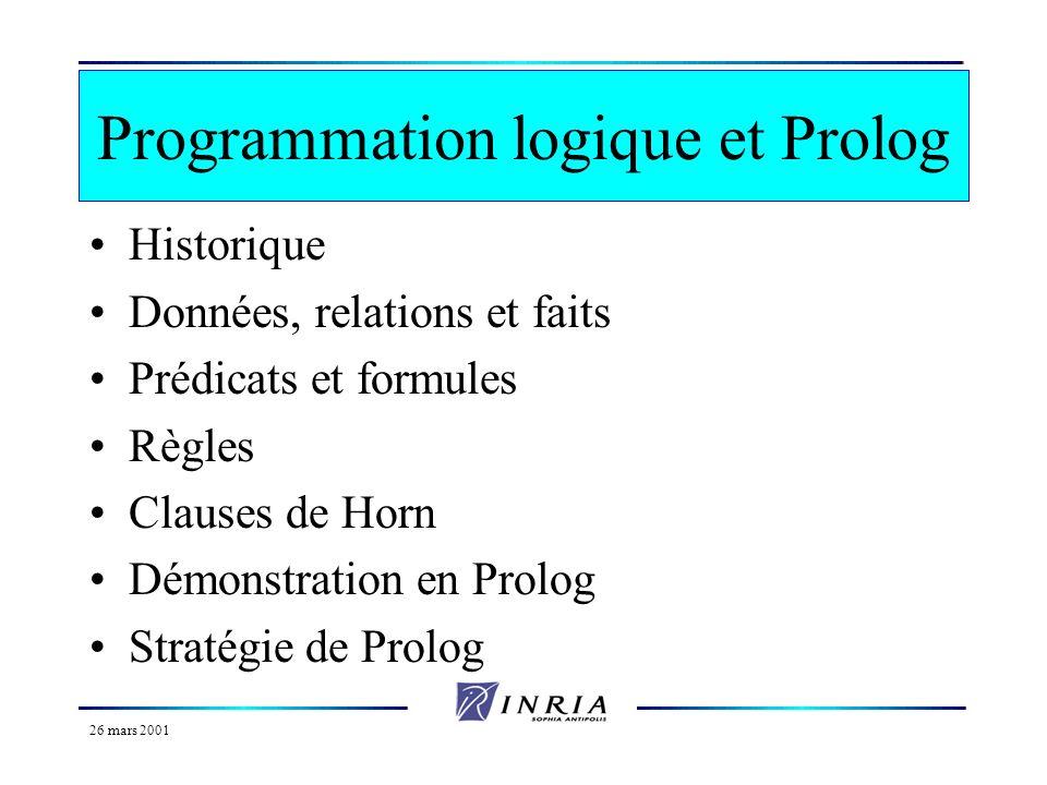 26 mars 2001 Bibliographie Les fondements de la programmation en logique de J. W. Lloyd Prolog de F. Giannesini, H. Kanoui, R. Pasero et M. Van Canegh