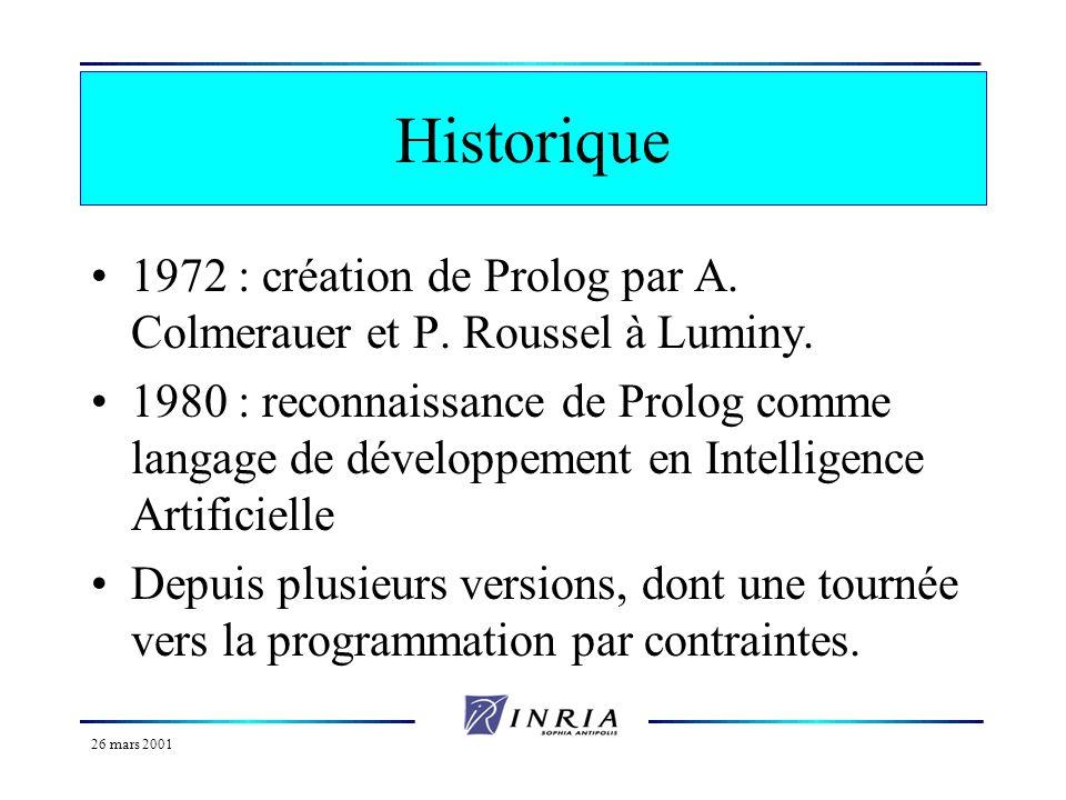 26 mars 2001 Programmation logique et Prolog Historique Données, relations et faits Prédicats et formules Règles Clauses de Horn Démonstration en Prol
