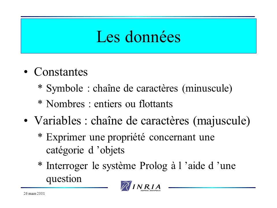 26 mars 2001 Historique 1972 : création de Prolog par A. Colmerauer et P. Roussel à Luminy. 1980 : reconnaissance de Prolog comme langage de développe