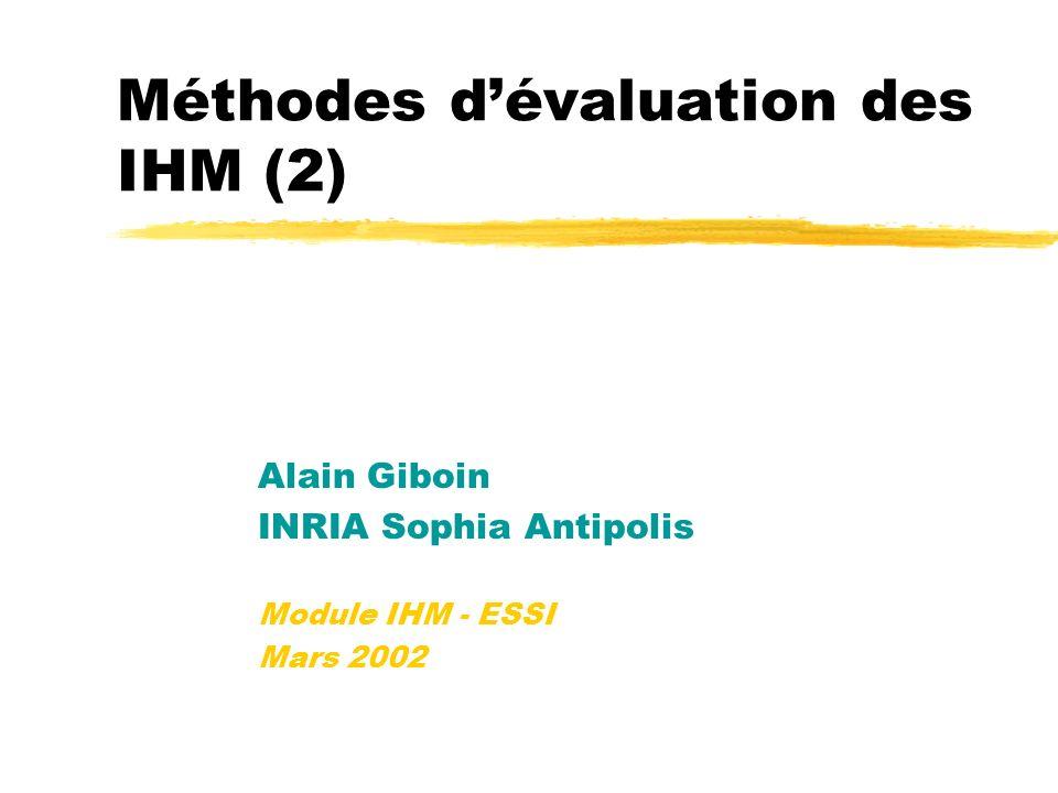 Méthodes dévaluation des IHM (2) Alain Giboin INRIA Sophia Antipolis Module IHM - ESSI Mars 2002