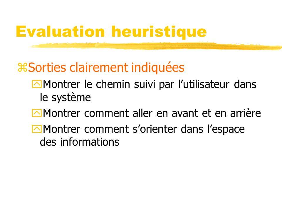 Evaluation heuristique zSorties clairement indiquées yMontrer le chemin suivi par lutilisateur dans le système yMontrer comment aller en avant et en arrière yMontrer comment sorienter dans lespace des informations