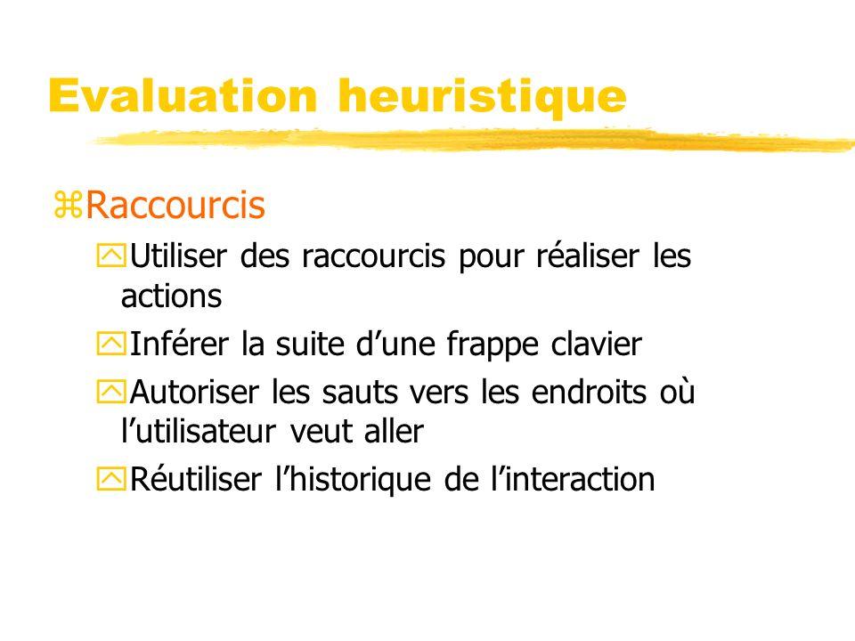 Evaluation heuristique zRaccourcis yUtiliser des raccourcis pour réaliser les actions yInférer la suite dune frappe clavier yAutoriser les sauts vers les endroits où lutilisateur veut aller yRéutiliser lhistorique de linteraction
