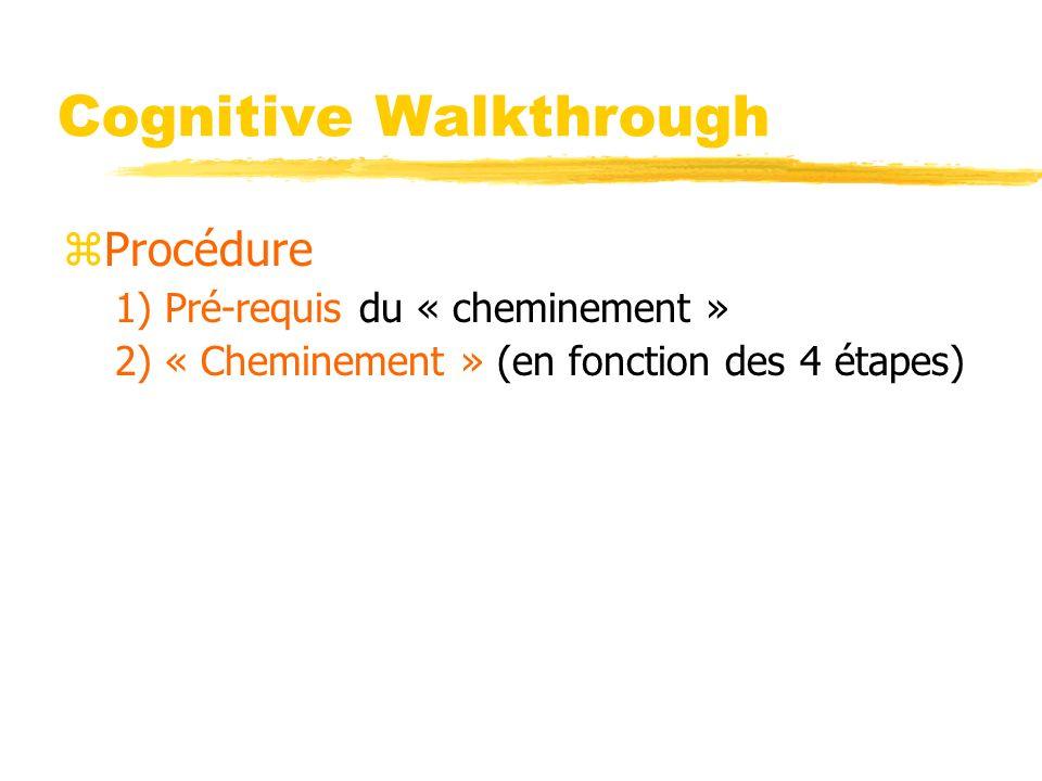 Cognitive Walkthrough zProcédure 1) Pré-requis du « cheminement » 2) « Cheminement » (en fonction des 4 étapes)