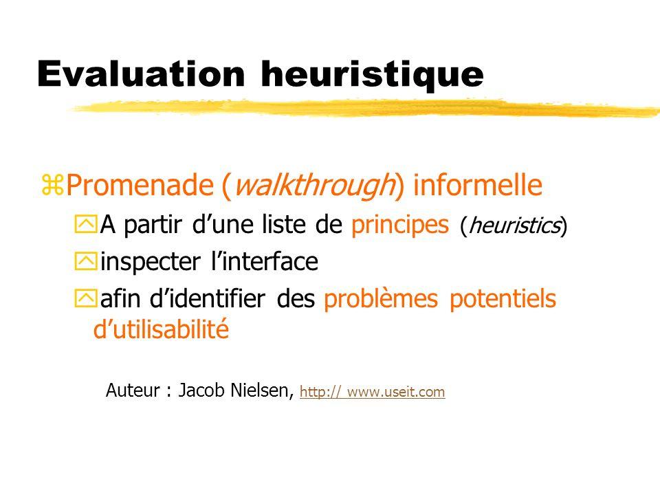 Evaluation heuristique zPromenade (walkthrough) informelle yA partir dune liste de principes (heuristics) yinspecter linterface yafin didentifier des problèmes potentiels dutilisabilité Auteur : Jacob Nielsen, http:// www.useit.com http:// www.useit.com