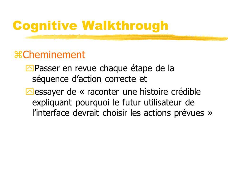 Cognitive Walkthrough zCheminement yPasser en revue chaque étape de la séquence daction correcte et yessayer de « raconter une histoire crédible expliquant pourquoi le futur utilisateur de linterface devrait choisir les actions prévues »