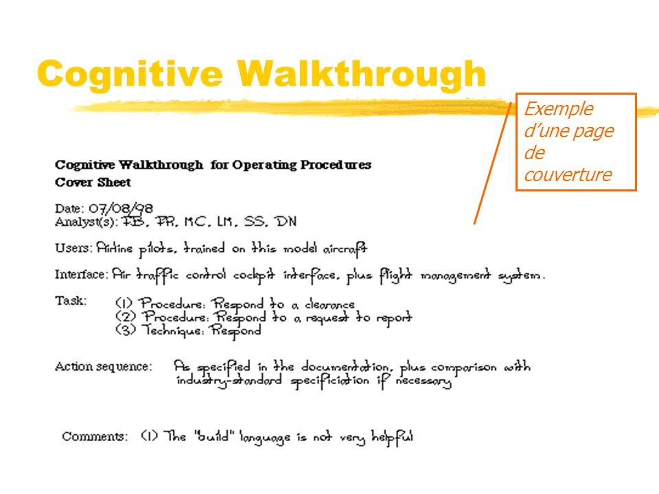 Cognitive Walkthrough Exemple dune page de couverture
