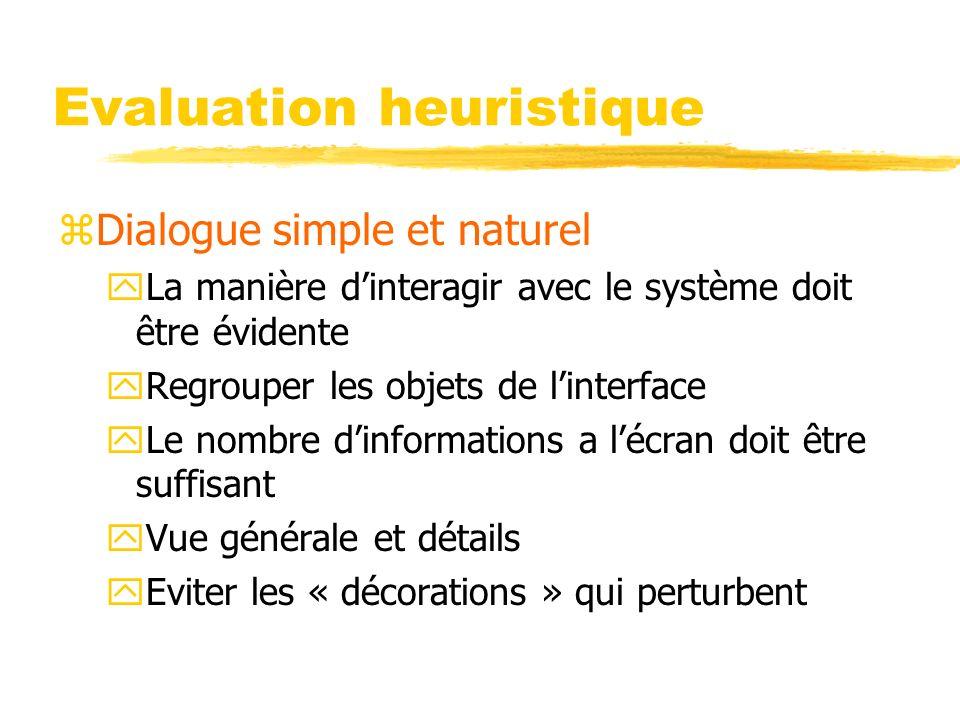 Evaluation heuristique zDialogue simple et naturel yLa manière dinteragir avec le système doit être évidente yRegrouper les objets de linterface yLe n