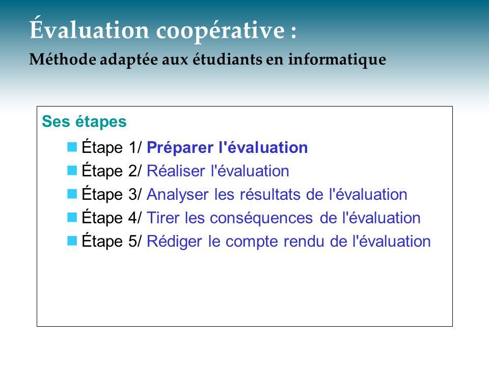 Évaluation coopérative : Méthode adaptée aux étudiants en informatique Ses étapes Étape 1/ Préparer l'évaluation Étape 2/ Réaliser l'évaluation Étape