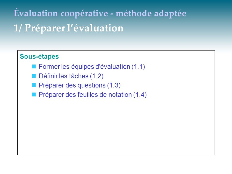 Évaluation coopérative - méthode adaptée 1/ Préparer lévaluation Sous-étapes Former les équipes d'évaluation (1.1) Définir les tâches (1.2) Préparer d