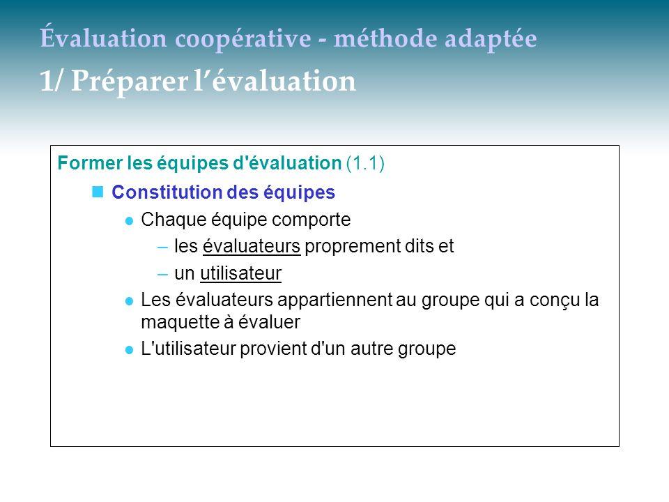 Évaluation coopérative - méthode adaptée 1/ Préparer lévaluation Former les équipes d'évaluation (1.1) Constitution des équipes Chaque équipe comporte