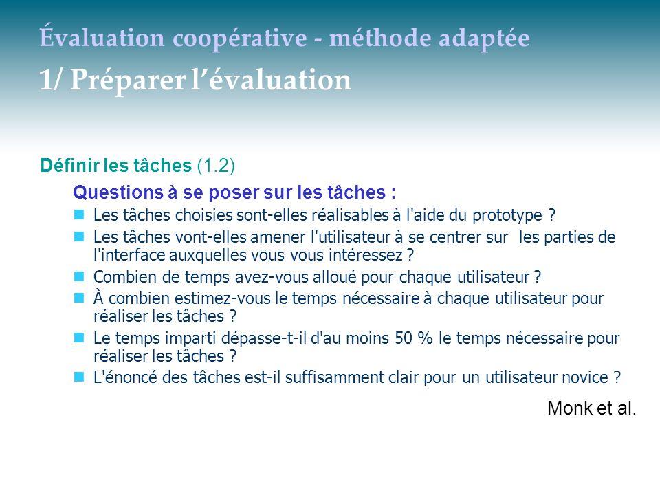 Évaluation coopérative - méthode adaptée 1/ Préparer lévaluation Définir les tâches (1.2) Questions à se poser sur les tâches : Les tâches choisies so