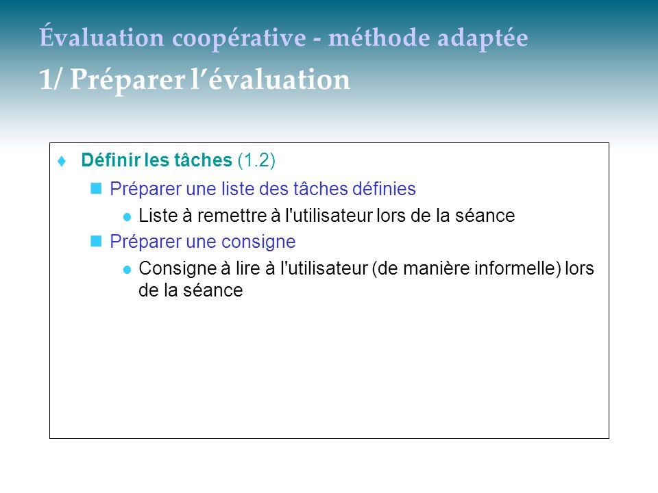 Évaluation coopérative - méthode adaptée 1/ Préparer lévaluation Définir les tâches (1.2) Préparer une liste des tâches définies Liste à remettre à l'