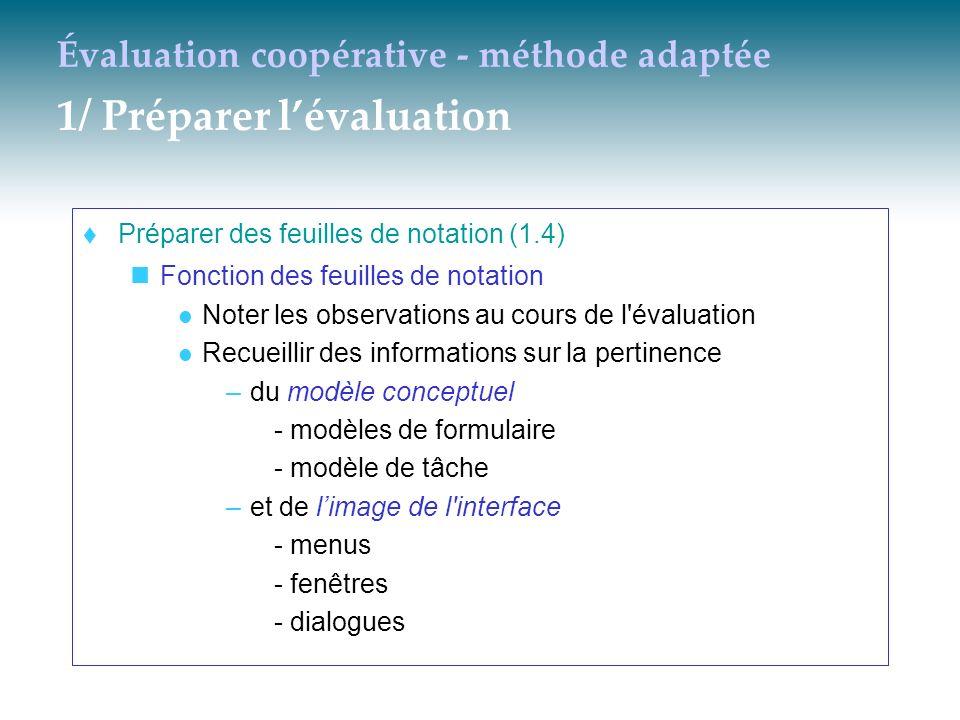 Évaluation coopérative - méthode adaptée 1/ Préparer lévaluation Préparer des feuilles de notation (1.4) Fonction des feuilles de notation Noter les o
