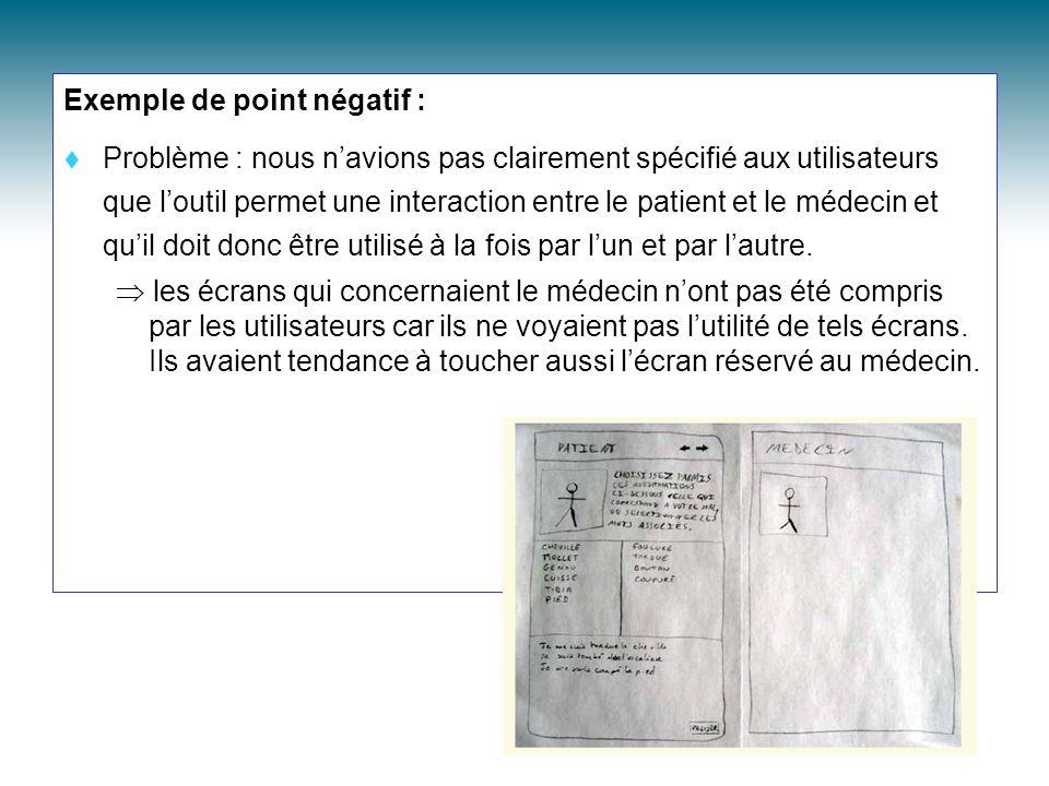 Exemple de point négatif : Problème : nous navions pas clairement spécifié aux utilisateurs que loutil permet une interaction entre le patient et le m