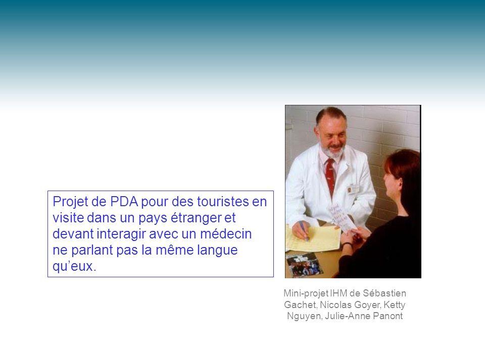 Projet de PDA pour des touristes en visite dans un pays étranger et devant interagir avec un médecin ne parlant pas la même langue queux. Mini-projet