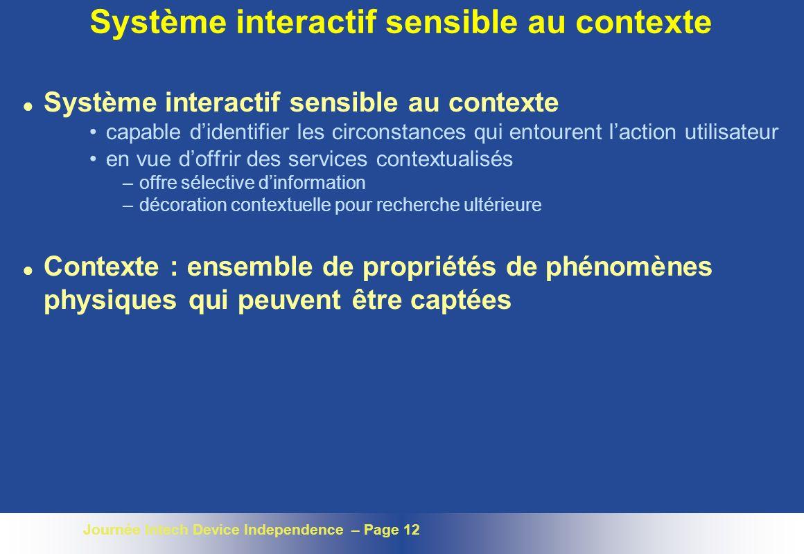 Journée Intech Device Independence – Page 12 Système interactif sensible au contexte l Système interactif sensible au contexte capable didentifier les
