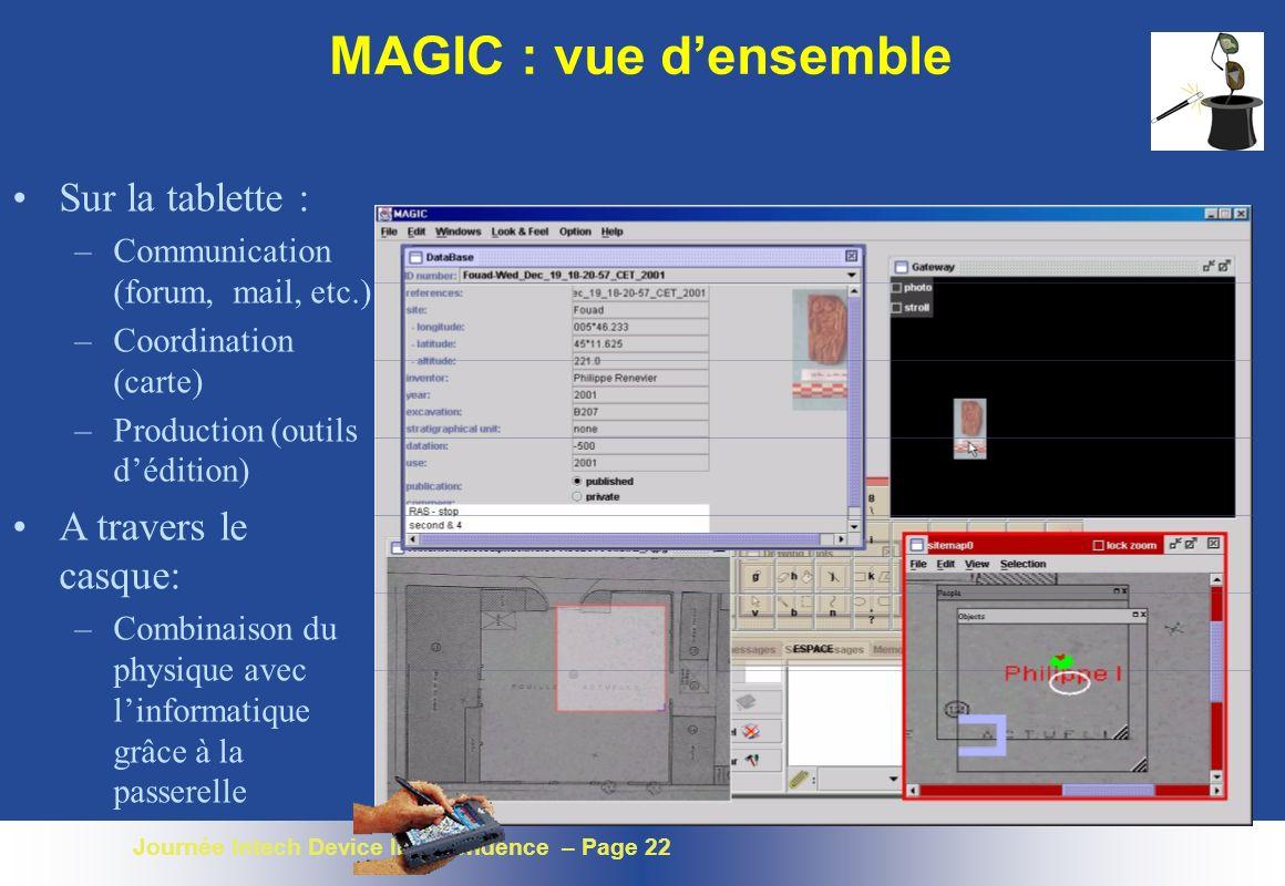 Journée Intech Device Independence – Page 22 MAGIC : vue densemble Sur la tablette : –Communication (forum, mail, etc.) –Coordination (carte) –Product