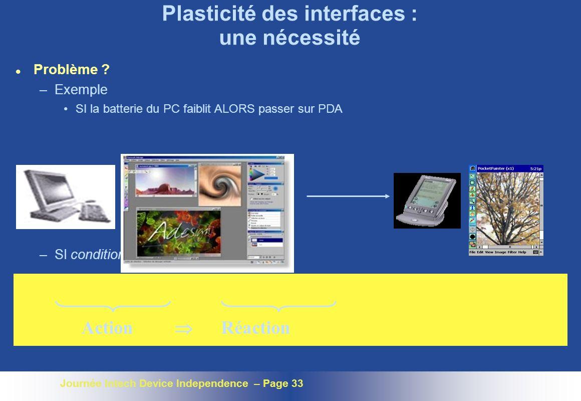 Journée Intech Device Independence – Page 33 Plasticité des interfaces : une nécessité l Problème ? –Exemple SI la batterie du PC faiblit ALORS passer
