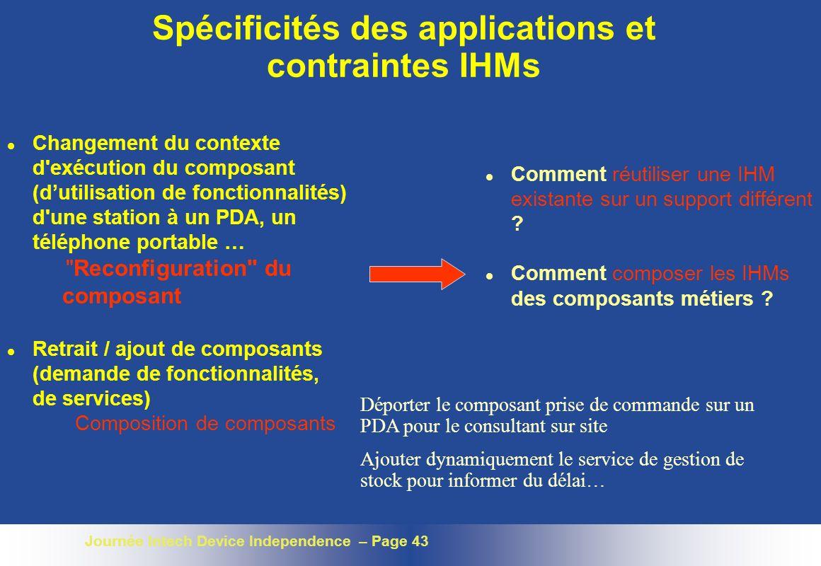 Journée Intech Device Independence – Page 43 Spécificités des applications et contraintes IHMs l Changement du contexte d'exécution du composant (duti