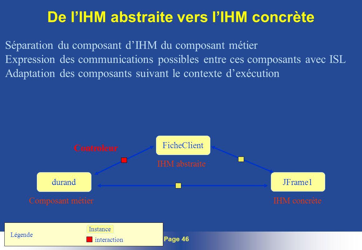 Journée Intech Device Independence – Page 46 De lIHM abstraite vers lIHM concrète Séparation du composant dIHM du composant métier Expression des comm