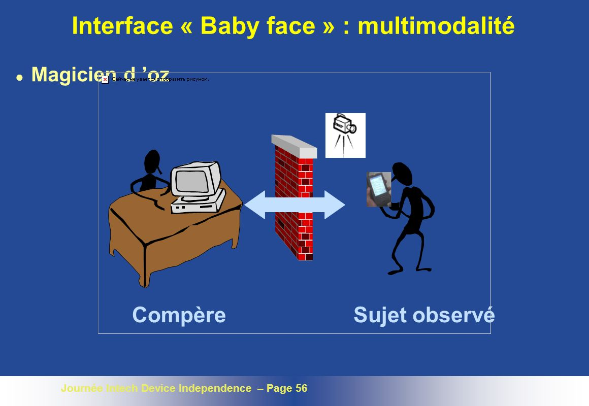Journée Intech Device Independence – Page 56 Interface « Baby face » : multimodalité l Magicien d oz CompèreSujet observé