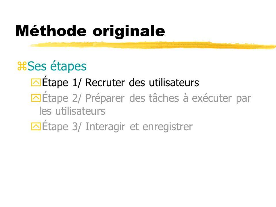 Méthode originale zSes étapes yÉtape 1/ Recruter des utilisateurs yÉtape 2/ Préparer des tâches à exécuter par les utilisateurs yÉtape 3/ Interagir et enregistrer