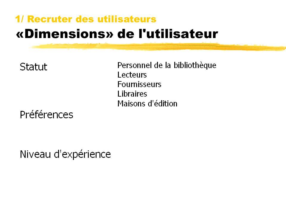 «Dimensions» de l utilisateur 1/ Recruter des utilisateurs