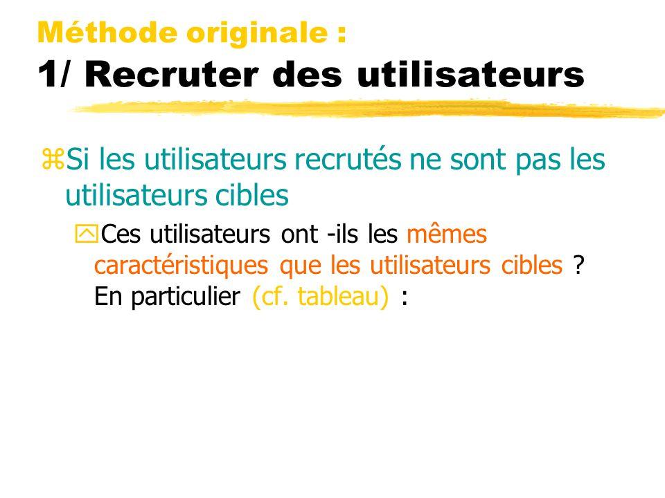 Méthode originale : 1/ Recruter des utilisateurs zSi les utilisateurs recrutés ne sont pas les utilisateurs cibles yCes utilisateurs ont -ils les mêmes caractéristiques que les utilisateurs cibles .