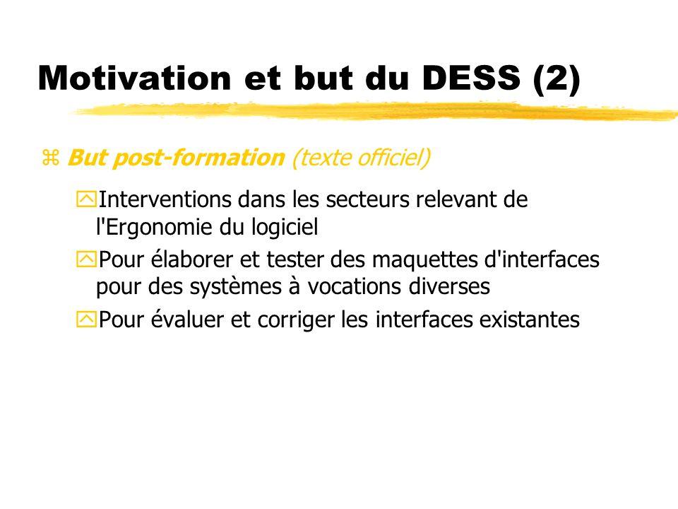 Motivation et but du DESS (2) But post-formation (texte officiel) yInterventions dans les secteurs relevant de l'Ergonomie du logiciel yPour élaborer