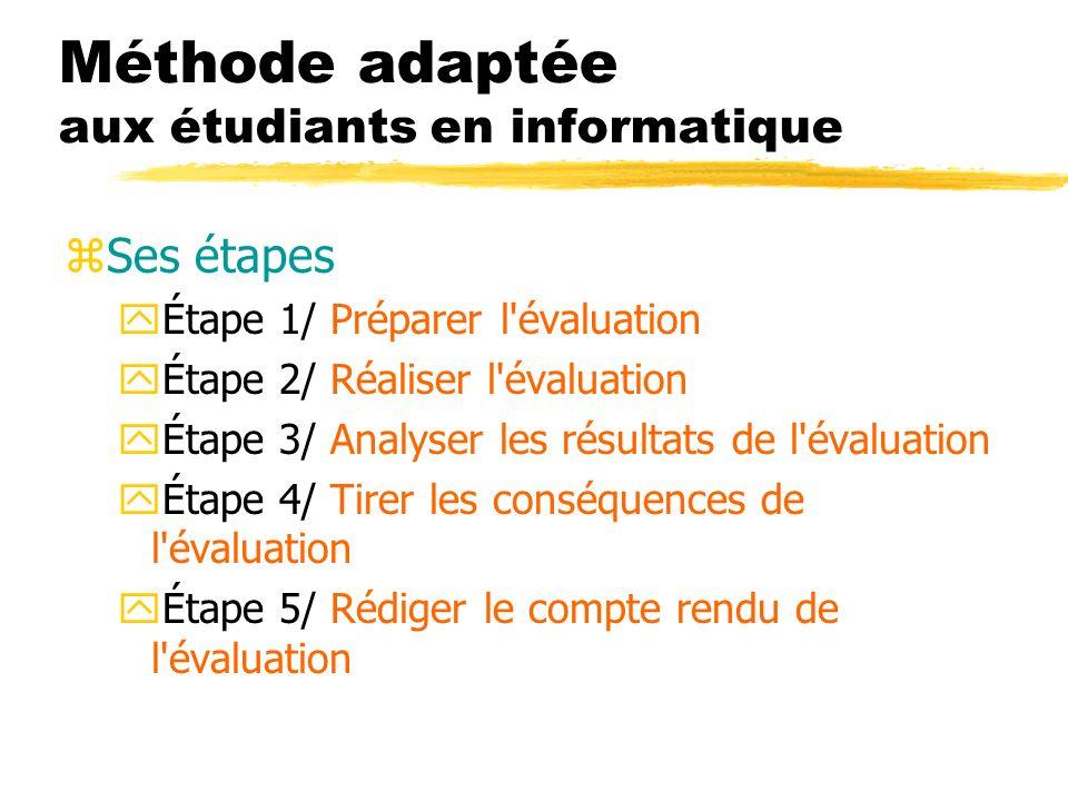 Méthode adaptée aux étudiants en informatique zSes étapes yÉtape 1/ Préparer l évaluation yÉtape 2/ Réaliser l évaluation yÉtape 3/ Analyser les résultats de l évaluation yÉtape 4/ Tirer les conséquences de l évaluation yÉtape 5/ Rédiger le compte rendu de l évaluation