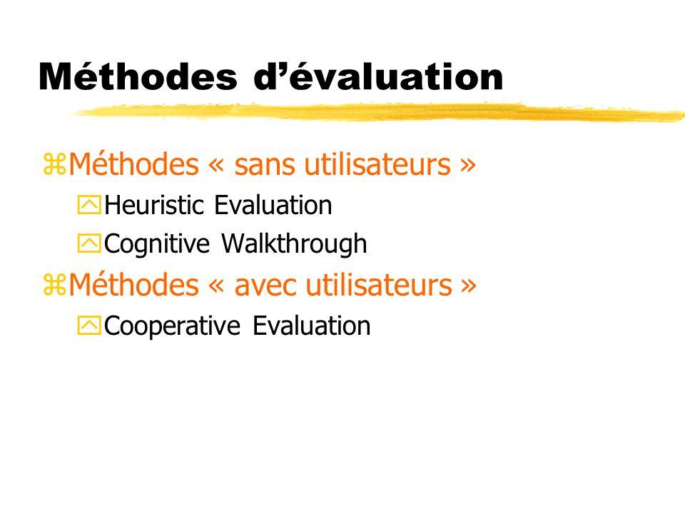 Méthodes dévaluation zMéthodes « sans utilisateurs » yHeuristic Evaluation yCognitive Walkthrough zMéthodes « avec utilisateurs » yCooperative Evaluation
