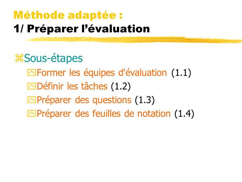 Méthode adaptée : 1/ Préparer lévaluation zSous-étapes yFormer les équipes d'évaluation (1.1) yDéfinir les tâches (1.2) yPréparer des questions (1.3)