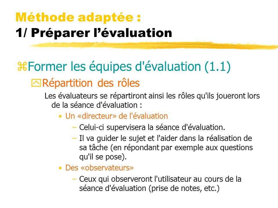Méthode adaptée : 1/ Préparer lévaluation zFormer les équipes d évaluation (1.1) yRépartition des rôles Les évaluateurs se répartiront ainsi les rôles qu ils joueront lors de la séance d évaluation : Un «directeur» de l évaluation –Celui-ci supervisera la séance d évaluation.