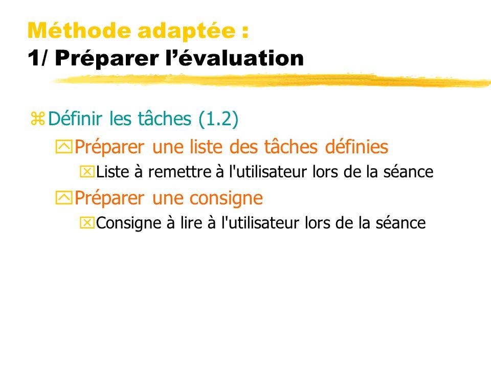 Méthode adaptée : 1/ Préparer lévaluation zDéfinir les tâches (1.2) yPréparer une liste des tâches définies xListe à remettre à l'utilisateur lors de