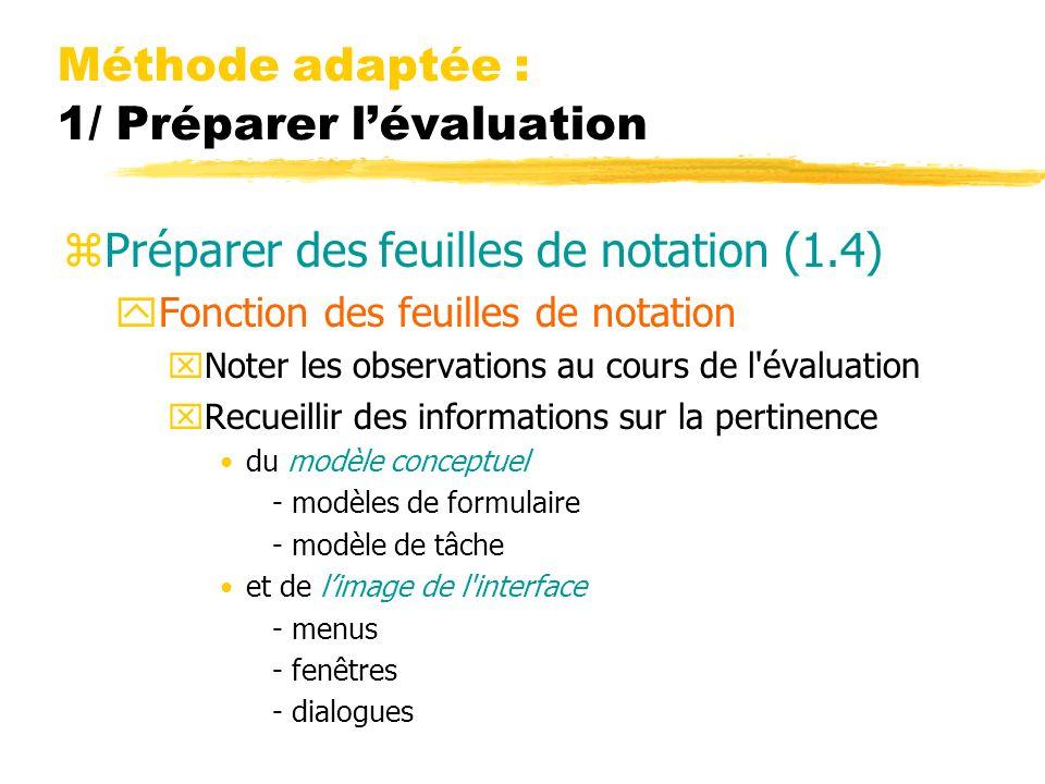 Méthode adaptée : 1/ Préparer lévaluation zPréparer des feuilles de notation (1.4) yFonction des feuilles de notation xNoter les observations au cours