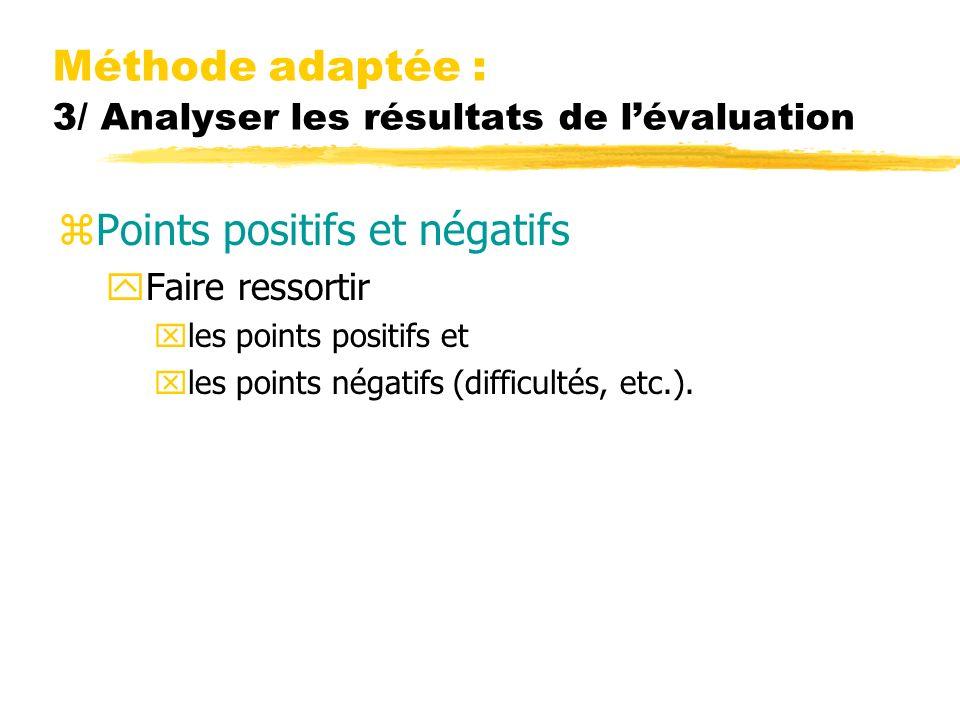 Méthode adaptée : 3/ Analyser les résultats de lévaluation zPoints positifs et négatifs yFaire ressortir xles points positifs et xles points négatifs (difficultés, etc.).