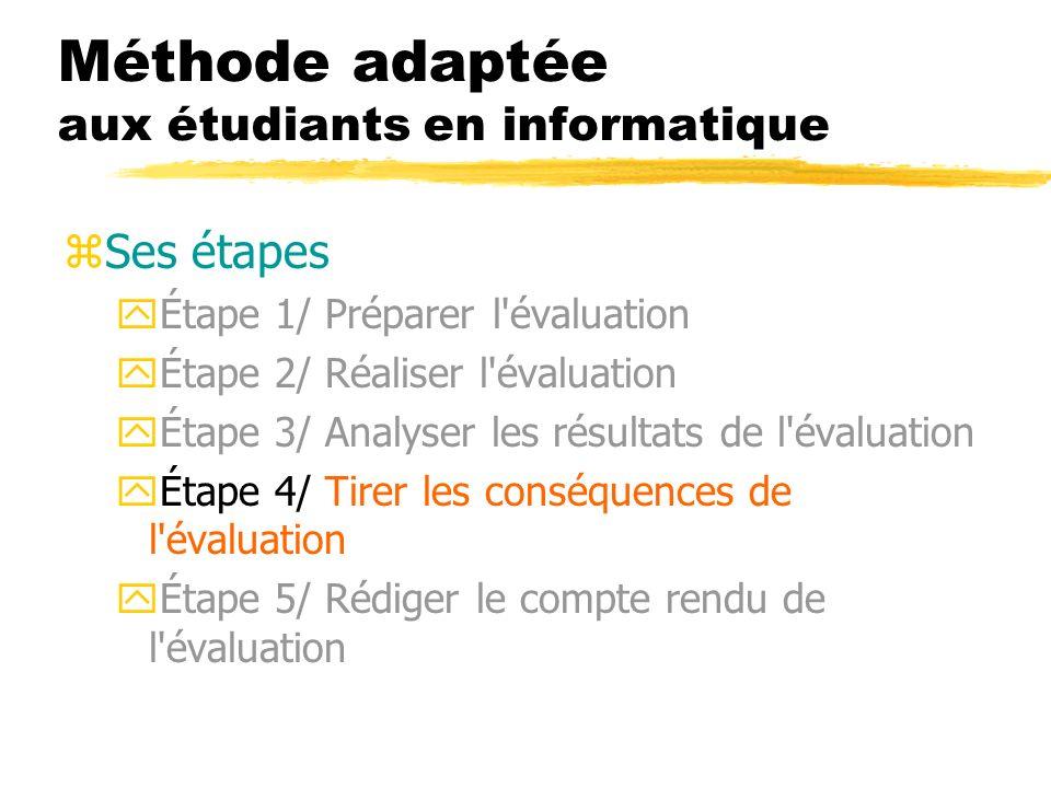 Méthode adaptée aux étudiants en informatique zSes étapes yÉtape 1/ Préparer l'évaluation yÉtape 2/ Réaliser l'évaluation yÉtape 3/ Analyser les résul