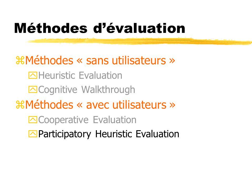 Méthodes dévaluation zMéthodes « sans utilisateurs » yHeuristic Evaluation yCognitive Walkthrough zMéthodes « avec utilisateurs » yCooperative Evaluation yParticipatory Heuristic Evaluation