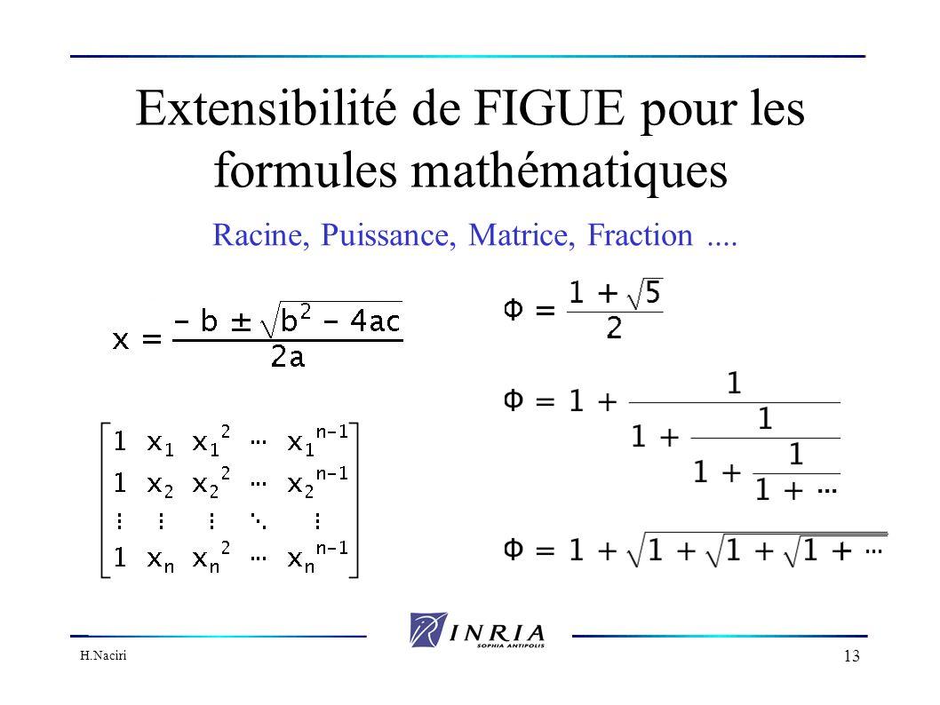 H.Naciri 12 Plan Motivations Fonctionnalités de FIGUE Les formules mathématiques en FIGUE Exemple dapplication Migration vers le Web