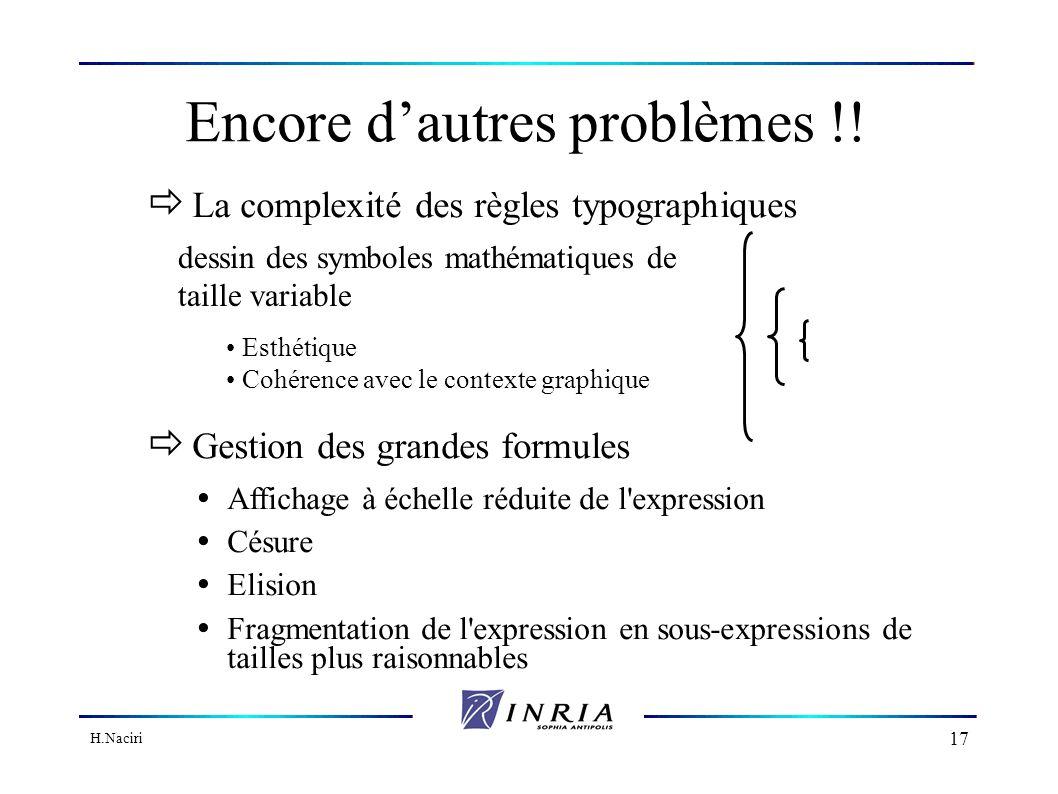 H.Naciri 16 Quelques problèmes à résoudre...