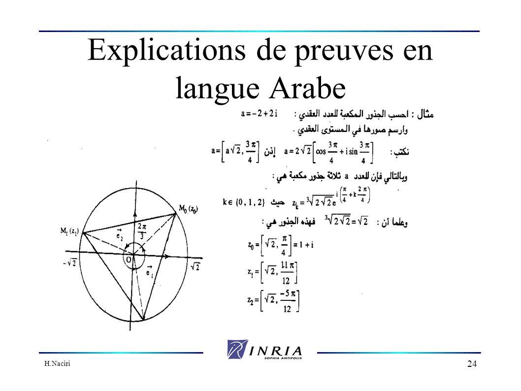 H.Naciri 23 Perspectives Bases pour le développement dun éditeur MathML Utiliser notre expérience de FIGUE dans les éditeurs Web Supporter l affichage bi-directionnel (droite-gauche et gauche-droite) explications de preuves en langue arabe