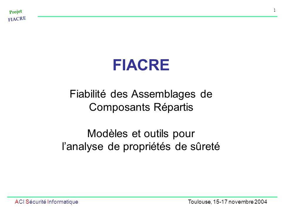 Projet FIACRE 1 ACI Sécurité InformatiqueToulouse, 15-17 novembre 2004 FIACRE Fiabilité des Assemblages de Composants Répartis Modèles et outils pour lanalyse de propriétés de sûreté