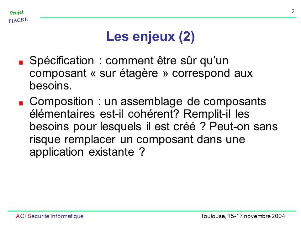 Projet FIACRE 3 ACI Sécurité InformatiqueToulouse, 15-17 novembre 2004 Les enjeux (2) Spécification : comment être sûr quun composant « sur étagère » correspond aux besoins.
