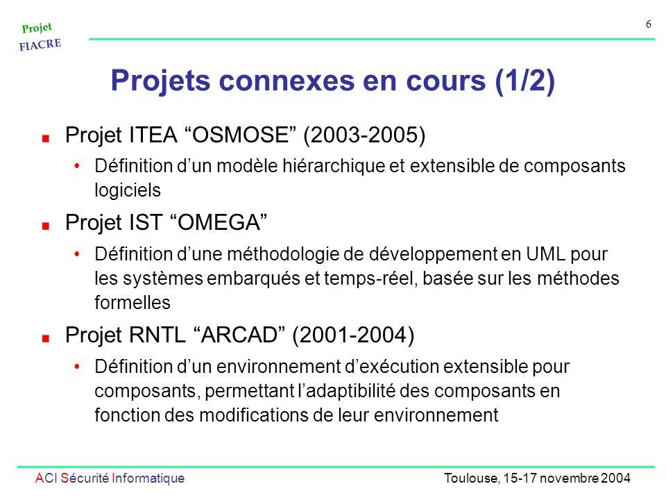 Projet FIACRE 6 ACI Sécurité InformatiqueToulouse, 15-17 novembre 2004 Projets connexes en cours (1/2) Projet ITEA OSMOSE (2003-2005) Définition dun modèle hiérarchique et extensible de composants logiciels Projet IST OMEGA Définition dune méthodologie de développement en UML pour les systèmes embarqués et temps-réel, basée sur les méthodes formelles Projet RNTL ARCAD (2001-2004) Définition dun environnement dexécution extensible pour composants, permettant ladaptibilité des composants en fonction des modifications de leur environnement