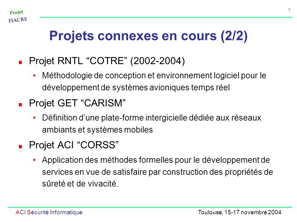 Projet FIACRE 7 ACI Sécurité InformatiqueToulouse, 15-17 novembre 2004 Projets connexes en cours (2/2) Projet RNTL COTRE (2002-2004) Méthodologie de c